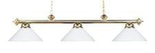 Landmark 167-PB-WH Casual Traditions Three Light Billiard/Island in Polished Brass with White Metal Shades - Peazz.com