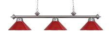 Landmark 167-SN-RED Casual Traditions Three Light Billiard/Island in Satin Nickel with Red Metal Shades - Peazz.com