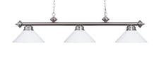 Landmark 167-SN-WH Casual Traditions Three Light Billiard/Island in Satin Nickel with White Metal Shades - Peazz.com