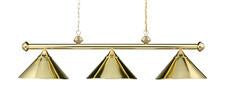 Landmark 168-PB Casual Traditions Three Light Billiard/Island in Polished Brass with Metal Shades - Peazz.com