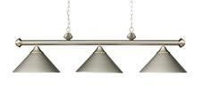Landmark 168-SN Casual Traditions Three Light Billiard/Island in Satin Nickel with Metal Shades - Peazz.com