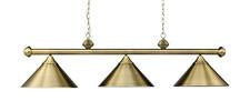 Landmark 168-TB Casual Traditions Three Light Billiard/Island in Antiqe Brass with Metal Shades - Peazz.com