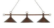 Landmark 182-AC-M2 Designer Classics Three Light Billiard/Island in Antique Copper with Hand Hammered Iron Shades - Peazz.com