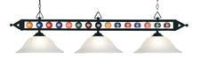 Landmark 190-1-BK-G1 Designer Classics Three Light Billiard/Island in Matte Black with White Faux Alabaster Glass Shades - Peazz.com