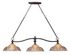 Landmark 66195-3 Norwich Three Light Billiard/Island Light in Oiled Bronze - Peazz.com