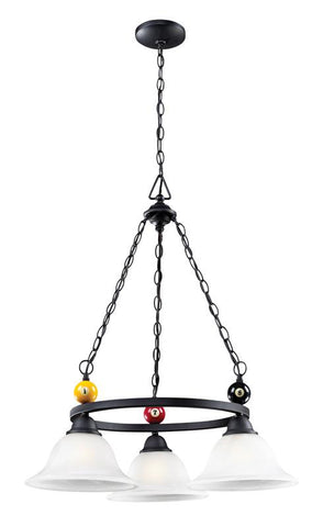 Landmark 66203-3 Billiards (Section) Matte Black Chandelier - Peazz.com