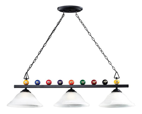 Landmark 66204-3 Billiards (Section) Matte Black Pendant - Peazz.com