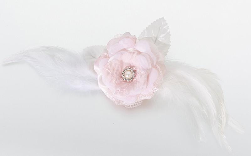 Lillian Rose JL237 PI Lace/Feather Hair Clip/Pin-Pink