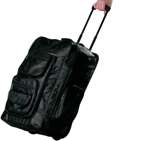Embassy 22-1/4'' Italian Stone Design Genuine Leather Super Deluxe Backpack/Rolling Cart - Peazz.com