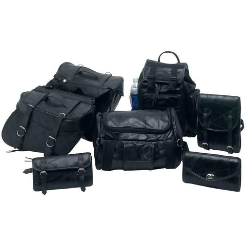 Diamond Plate 7pc Rock Design Genuine Buffalo Leather Motorcycle Luggage Set - Peazz.com