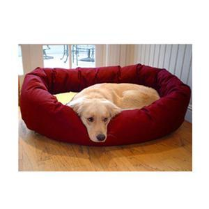 "Majestic Pet Small 24"" Bagel Bed - Burgundy & Sherpa - Peazz.com"