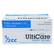 "UltiCare U-100 Insulin Syringe, 1/2cc 30g x 1/2"", 100/Box (MD-17410) - Peazz.com"