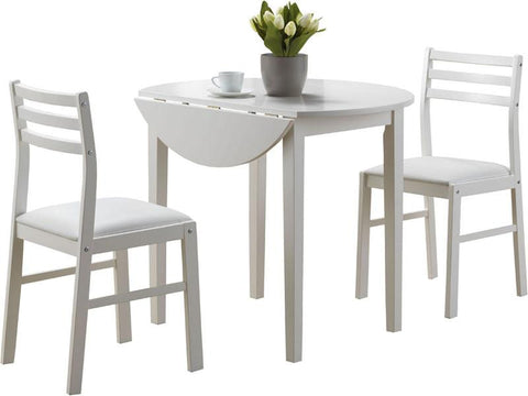 "Monarch Specialties I 1008 White 3Pcs Dining Set With A 36""Dia Drop Leaf Table - Peazz.com"