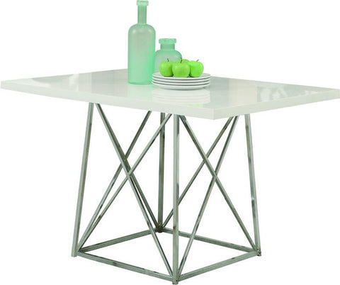 "Monarch Specialties I 1046 White Glossy / Chrome Metal 36""X 48"" Dining Table - Peazz.com"