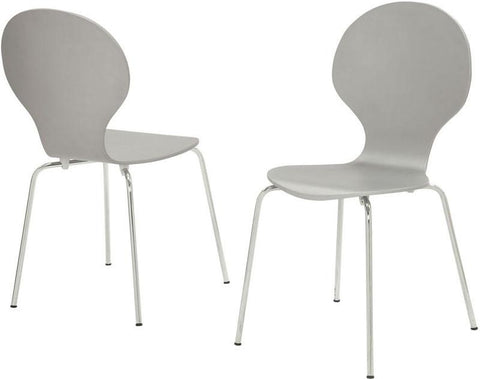 "Monarch Specialties I 1047 Grey Bentwood / Chrome Metal 34""H Dining Chairs / 4Pcs - Peazz.com"