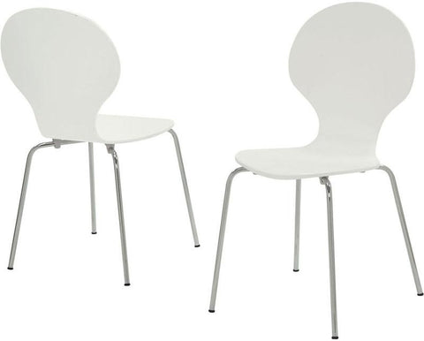 "Monarch Specialties I 1048 White Bentwood / Chrome Metal 34""H Dining Chairs / 4Pcs - Peazz.com"