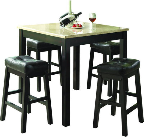 Monarch Specialties I 1135 Cappuccino / Beige Faux Marble 5Pcs Counter Dining Set - Peazz.com