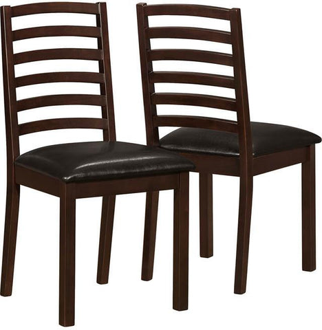 "Monarch Specialties I 1149 Walnut / Brown Leather-Look 36""H Side Chair / 2Pcs - Peazz.com"