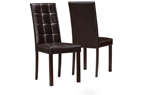 "Monarch Specialties I 1171 Dark Brown Leather-Look 38""H Dining Chair / 2Pcs Per Ctn - Peazz.com"