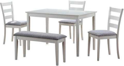Monarch Specialties I 1210 White 5Pcs Dining Set With A Bench And 3 Side Chairs - Peazz.com