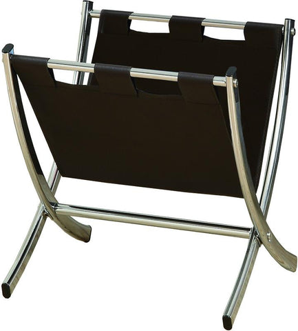 Monarch Specialties I 2035 Dark Brown Leather-Look / Chrome Metal Magazine Rack - Peazz.com