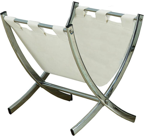 Monarch Specialties I 2036 White Leather-Look / Chrome Metal Magazine Rack - Peazz.com