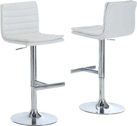 Monarch Specialties I 2355 White / Chrome Metal Hydraulic Lift Barstool / 2Pcs - Peazz.com