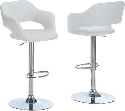 Monarch Specialties I 2358 White / Chrome Metal Hydraulic Lift Barstool - Peazz.com