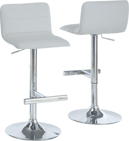 Monarch Specialties I 2365 White / Chrome Metal Hydraulic Lift Barstool / 2Pcs - Peazz.com