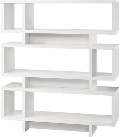 "Monarch Specialties I 2532 White Hollow-Core 55""H Modern Bookcase - Peazz.com"
