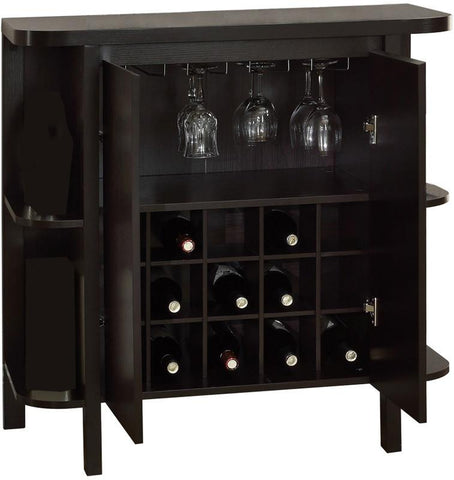 "Monarch Specialties I 2545 Cappuccino 36""H Bar Unit With Bottle And Glass Storage - Peazz.com"