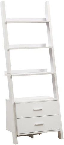 "Monarch Specialties I 2562 White 69""H Ladder Bookcase With 2 Storage Drawers - Peazz.com"