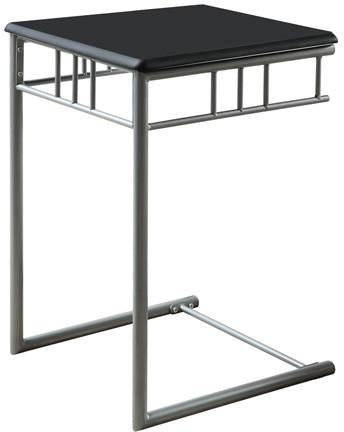 Monarch Specialties I 3093 Black / Silver Metal Snack Table - Peazz.com