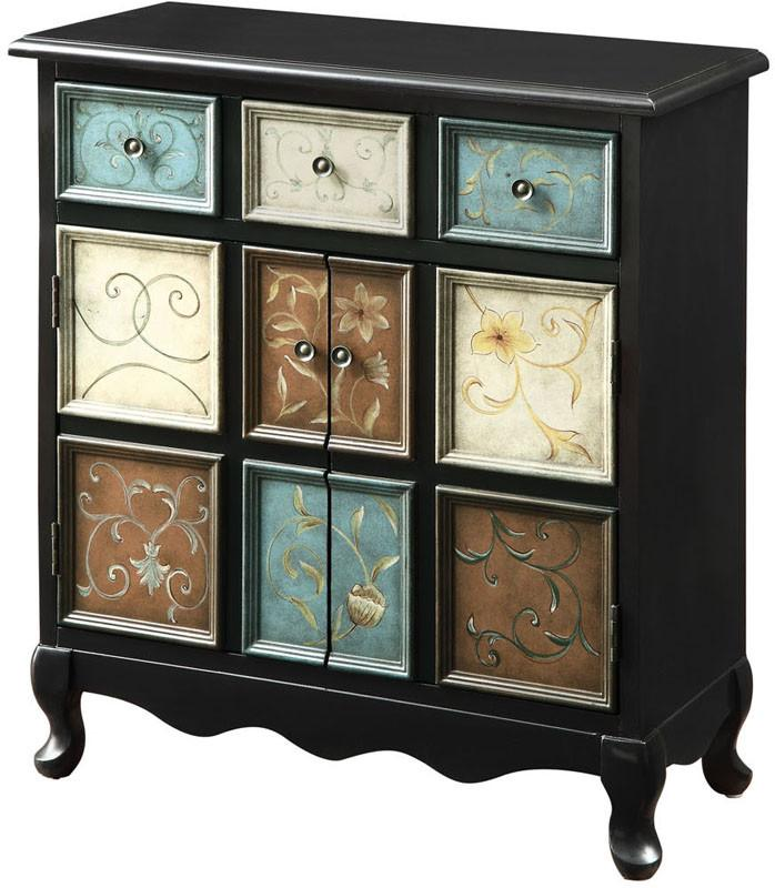 Monarch Specialties I 3893 Distressed Black / Multi-Color Apothecary Bombay Chest