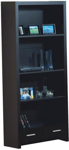 "Monarch Specialties I 7010 Cappuccino Hollow-Core 71""H Bookcase With A Drawer - Peazz.com"