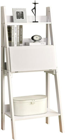 "Monarch Specialties I 7040 White 61""H Ladder Bookcase With A Drop-Down Desk - Peazz.com"