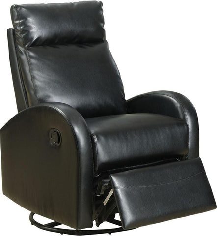 Monarch Specialties I 8080BK Black Bonded Leather Swivel Rocker Recliner - Peazz.com