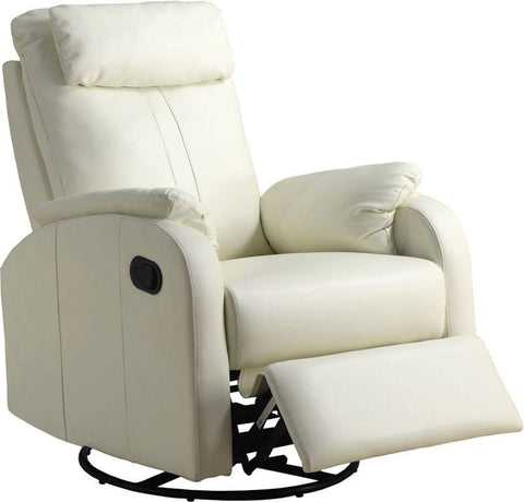 Monarch Specialties I 8081IV Ivory Bonded Leather Swivel Rocker Recliner - Peazz.com