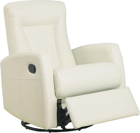 Monarch Specialties I 8082IV Ivory Bonded Leather Swivel Rocker Recliner - Peazz.com