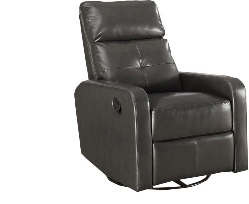 Grey Bonded Leather Swivel Glider Recliner Charcoal 3981 Product Photo