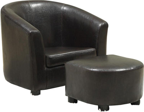 Monarch Specialties I 8103 Dark Brown Leather-Look Juvenile Chair / Ottoman 2Pcs Set - Peazz.com