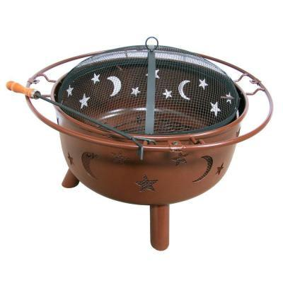 Fireside Escapes Stars and Moon Rusty Brown Steel Fire Pit (MW1142) - Peazz.com