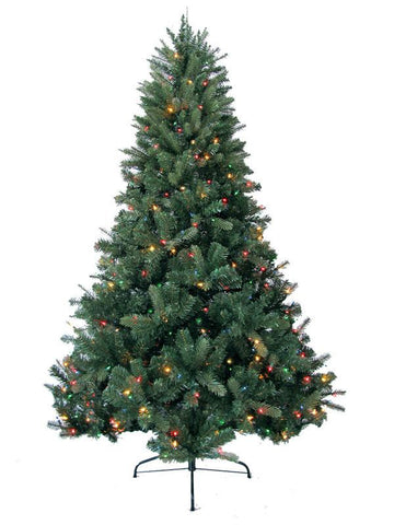 Jolly Workshop JW-DW07 7' Prelit Artificial Deerwood Fir Tree 600 Multi-Colored Lights, 1052 Tips With Metal Stand - Peazz.com