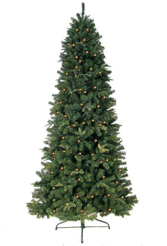 Jolly Workshop JW-EW06 6' Prelit Artificial Eastwood Fir Slim Tree 400 Clear Lights, 857 Tips With Metal Stand - Peazz.com