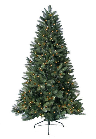 Jolly Workshop JW-HF07 7' Prelit Artificial Highland Fir Tree 450 LED Warm Lights, 1325 Tips With Metal Stand - Peazz.com