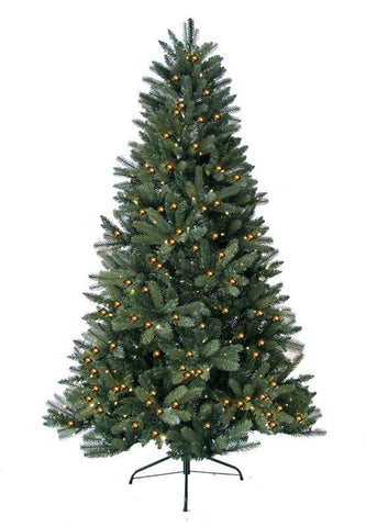 Jolly Workshop JW-HF08 8' Prelit Artificial Highland Fir Tree 600 LED Warm Lights, 1797 Tips With Metal Stand - Peazz.com