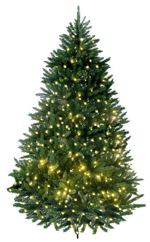 Jolly Workshop JW-LW07 7' Prelit Artificial Lakewood Fir Tree 600 LED Warm Lights, 1640 Tips With Metal Stand - Peazz.com