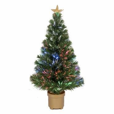 "32"" Multi-Color LED Fiber Optic Tree Top Star 80 Tips 9 Ply w/ Gold Base - WarehouseSpot"