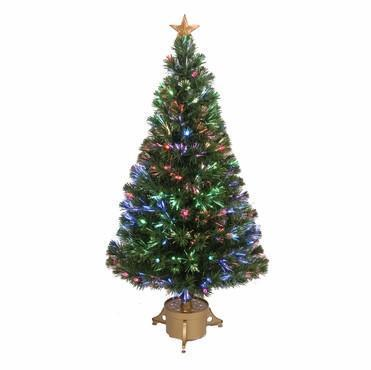 "48"" Multi-Color LED Fiber Optic Tree Top Star 165 Tips 14 Ply w/ Berries & Gold Base - WarehouseSpot"