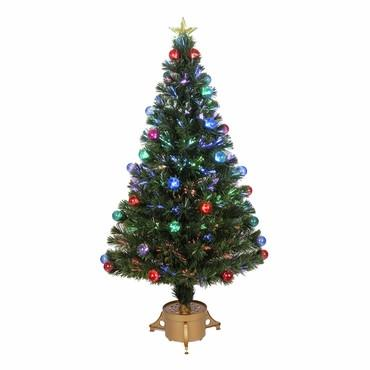 "48"" Multi-Color LED Fiber Optic Tree Top Star 165 Tips 14 Ply w/ Balls & Gold Base - Peazz.com"
